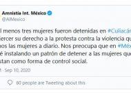 Culiacán | Amnistía Internacional se pronuncia por detención de feministas